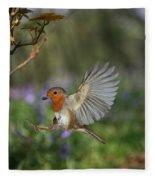 European Robin Alighting Fleece Blanket