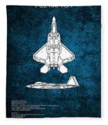 F22 Raptor Blueprint Fleece Blanket