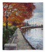 Fall In Port Credit On Fleece Blanket