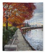 Fall In Port Credit On Fleece Blanket