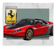 Ferrari Sergio With 3d Badge  Fleece Blanket