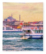Ferry Traffic On The Bosphorus Fleece Blanket