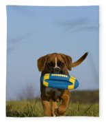 Fetching Boxer Puppy Fleece Blanket