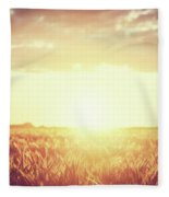 Field, Countryside At Sunset. Harvest Time. Vintage Fleece Blanket