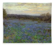 Field Of Bluebonnets At Sunset Fleece Blanket