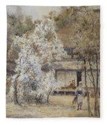 Figure In A Japanese Landscape Fleece Blanket