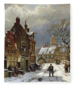 Figures In The Streets Of A Wintry Dutch Town Fleece Blanket