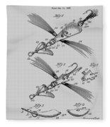 Fish Lure Patent 1933 Fleece Blanket