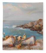 Fishermen With Boats Fleece Blanket