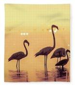 Flamingo During Sunset Fleece Blanket