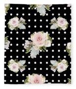 Floral Rose Cluster W Dot Bedding Home Decor Art Fleece Blanket