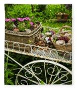 Flower Cart In Garden Fleece Blanket