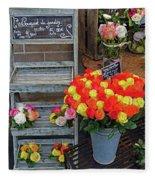 Flower Shop Display In Paris, France Fleece Blanket