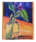 Flowers In Glass Vase Fleece Blanket