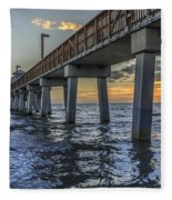 Fort Myers Beach Fishing Pier Fleece Blanket by Edward Fielding