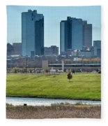 Fort Worth Panorama Fleece Blanket