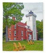 Forty Mile Point Lighthouse Fleece Blanket