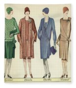 Four Flappers Modelling French Designer Outfits, 1928  Fleece Blanket