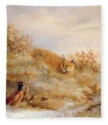 Fox And Pheasants In Winter Fleece Blanket