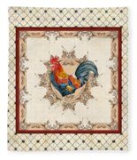 French Country Roosters Quartet Cream 2 Fleece Blanket