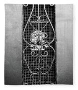 French Quarter Window To The Courtyard - Bw Fleece Blanket