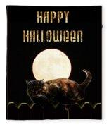 Full Moon Cat Fleece Blanket