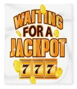 Gambler Waiting For A Jackpot 777 Gambling Fun Fleece Blanket