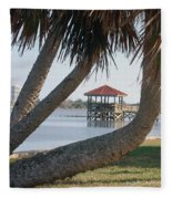 Gazebo Dock Framed By Leaning Palms Fleece Blanket