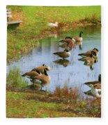 Geese Lake Fall  Fleece Blanket