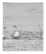 Geese Surrounded By Hoarfrost Fleece Blanket