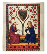German Minnesinger 14th C Fleece Blanket