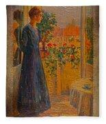 Girl At The Window Fleece Blanket