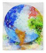 Globe Painting Fleece Blanket