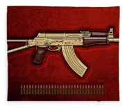 Gold A K S-74 U Assault Rifle With 5.45x39 Rounds Over Red Velvet   Fleece Blanket
