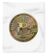 Gold Bitcoin Effigy Over White Leather Fleece Blanket