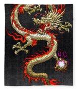 Golden Chinese Dragon Fucanglong  Fleece Blanket