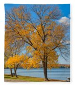 Golden Leaves Fleece Blanket