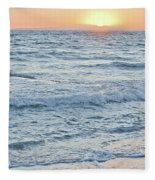 Golden Sunset And Ocean Horizon Fleece Blanket