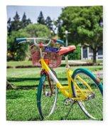 Google Bike Parked Near Googleplex Facility Park Fleece Blanket