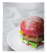 Gourmet Novelty Chicken Burger In Beetroot Bun Fleece Blanket