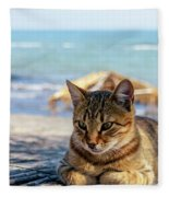 Gray Cat On The Background Of The Sea 1 Fleece Blanket
