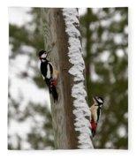 Great Spotted Woodpeckers Fleece Blanket