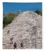 Grupo Nohoch Mul At The Coba Ruins  Fleece Blanket