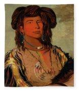 Ha-won-je-tah, One Horn, Head Chief Of The Miniconjou Tribe Fleece Blanket