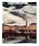 Hamburg At Dusk Fleece Blanket