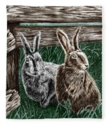 Hare Line  Fleece Blanket