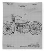 Harley Davidson Motorcycle Patent 1925 Fleece Blanket