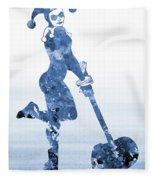 Harley Quinn-blue Fleece Blanket