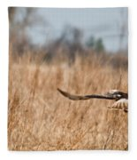 Hawk Soaring Over Field Fleece Blanket