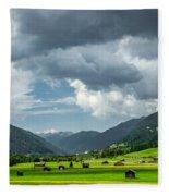 Hay Barns In Oberinntal, Pettneu Am Arlberg Fleece Blanket